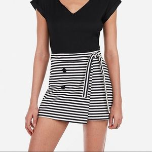 Striped Tie Waist Button Front Skort